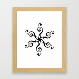 Treble Clef Hexaflower Framed Art Print