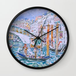 Rialto, Venice by Maurice Prendergast - Belle Époque Watercolor Painting Wall Clock