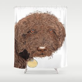 Chocolate Labradoodle Shower Curtain