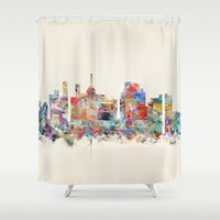 north carolina Shower Curtains featuring raleigh north carolina by bri.buckley