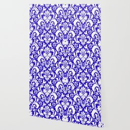 Paisley Damask Blue and White Wallpaper