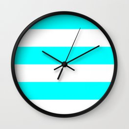 Wide Horizontal Stripes - White and Aqua Cyan Wall Clock