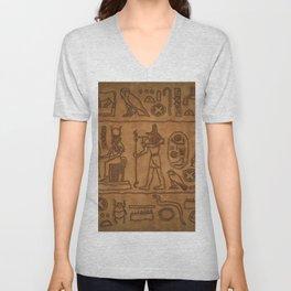 Egyptian Hieroglyphic Art Unisex V-Neck