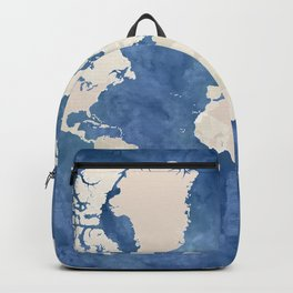 Navy blue watercolor and light brown world map Backpack
