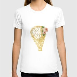 Cottage Chic Hot Air Balloon in Gold with Pink Roses T-shirt