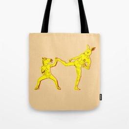 Horse-Dude versus Kick-Bunny Tote Bag