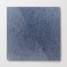 Washed Denim Fabric (Twill Textile) - Blue Metal Print