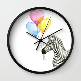 Zebra Watercolor With Heart Shaped Balloons Wall Clock