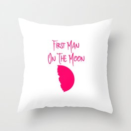 First Man on the Moon 1969 50th Anniversary Quote Throw Pillow