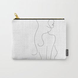 Minimalist line art drawing of a girl with long hair. Carry-All Pouch