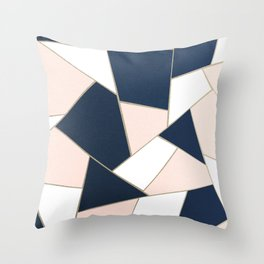 Navy Blue Blush White Gold Geometric Glam #1 #geo #decor #art #society6 Throw Pillow