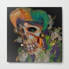 Jester Skull Carnival Metal Print