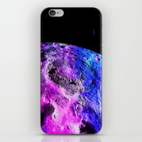 the moon iPhone & iPod Skins featuring Purple Blue Galaxy Moon  by 2sweet4words Designs