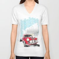 mini V-neck T-shirts featuring mini racer by michael cheung