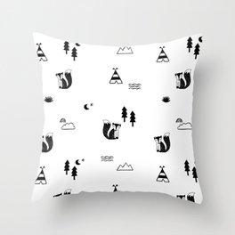 fox, scandinavian forest animals black & white Throw Pillow