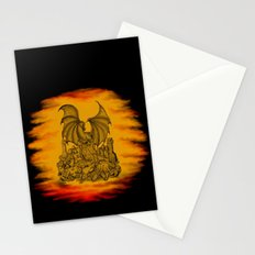 Zombie with Dragon on the Cemetery black and yellow Stationery Cards