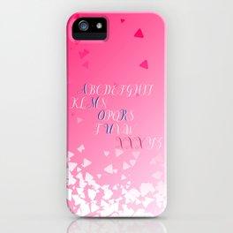 Amour Alphabet Love Rose Pink Glitter Design iPhone Case