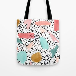 Coral Mint Gold Abstract Art Pattern with Terrazzo Stone Background Tote Bag