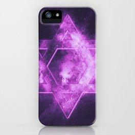 Magen David symbol, Star of David. Abstract night sky background. iPhone Case