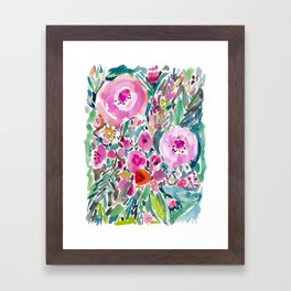 Pink Pow Wow Abstract Painterly Floral Framed Art Print