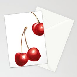 Watercolor Cherries Stationery Cards