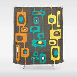 Googie Towers atomic trio orange turquoise yellow Shower Curtain