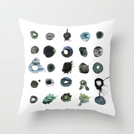 Blue Splats and Blobs. Watercolor and Ink. Abstract Art, Contemporary Art, Square Print, Minimal. Throw Pillow