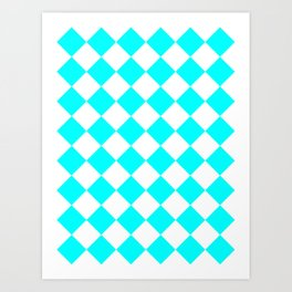 Large Diamonds - White and Aqua Cyan Art Print