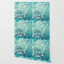 Vincent Van Gogh Almond Blossoms Turquoise Wallpaper