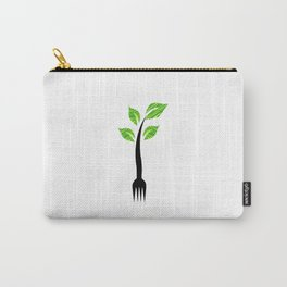 I am vegan- I am vegetarian- A fork with sprouts Carry-All Pouch
