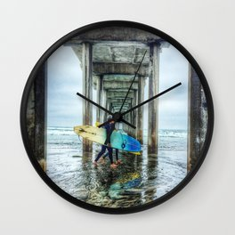 Surfers, La Jolla Shores Pier, San Diego, California. Wall Clock