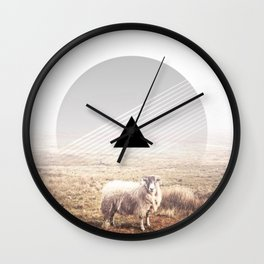 Sheep - triangle graphic Wall Clock