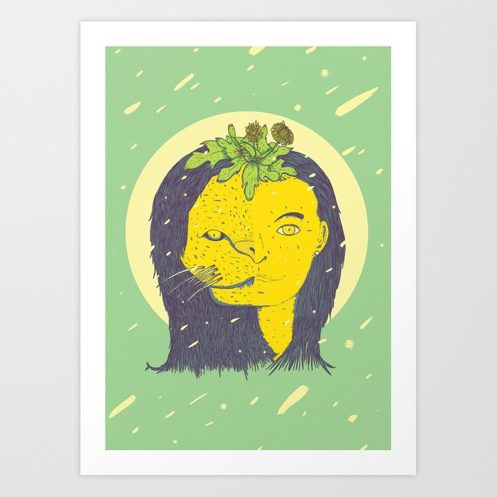 Subtle Force Lion Woman With Flowers On Head Art Print By Gutiyama