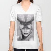 subway V-neck T-shirts featuring Subway by Cash Mattock