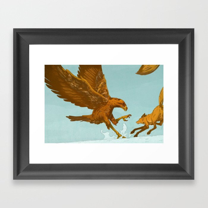 Golden Eagle, Red Fox Gerahmter Kunstdruck