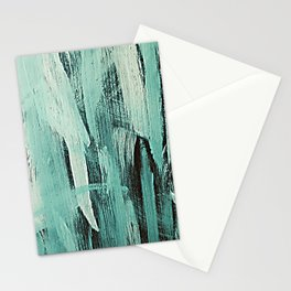 Pastel Green Abstract Painting With Broad Brush Strokes Stationery Cards