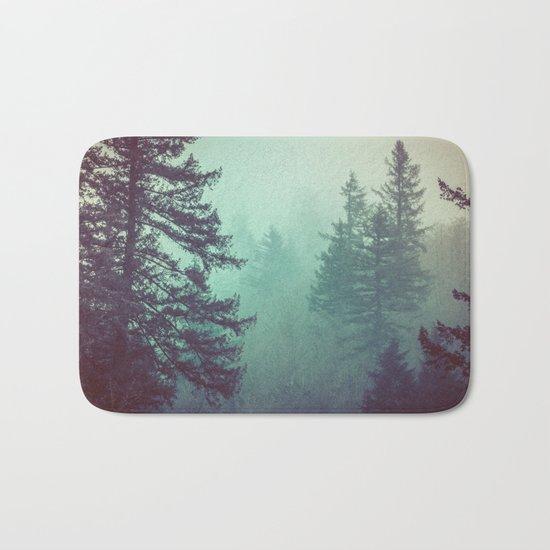 Forest Fog Fir Trees Bath Mat