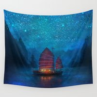 jazzberry blue Wall Tapestries featuring Our Secret Harbor by Aimee Stewart