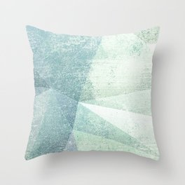 Frozen Geometry - Teal & Turquoise Throw Pillow