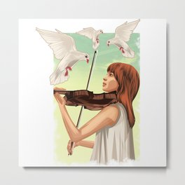 The Lovable Violin Girl Metal Print