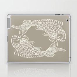Gray Grey Alabaster Koi Fishes Laptop & iPad Skin