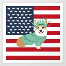 Corgi July 4 USA America Design cute corgi patriotic dog Art Print