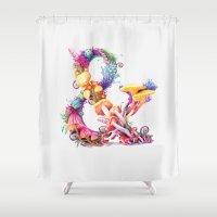 mushrooms Shower Curtains featuring Mushrooms & by Sasha Vinogradova