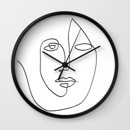 Abstract face One Line Art Wall Clock