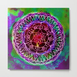 Colorwheel Mandala Purple Metal Print