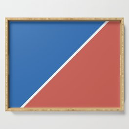 Fire Red & Mild Blue - oblique Serving Tray
