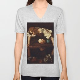 """Michelangelo Merisi da Caravaggio """"Narcissus"""" Unisex V-Neck"""