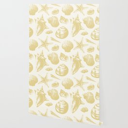 Seashells Pattern 6 - Gold Wallpaper