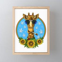 Hippie Giraffe Smoking Weed Framed Mini Art Print