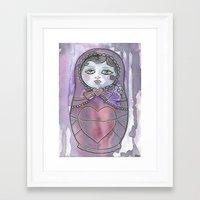 nan lawson Framed Art Prints featuring Nan the Nesting Doll by Pan Art